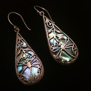 Vintage Sterling Silver Abalone Dragonfly Earrings
